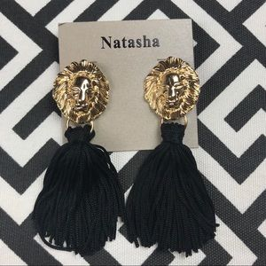 Lion door knocker black tassel earrings